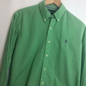 Ralph Lauren green white gingham button shirt Sz M